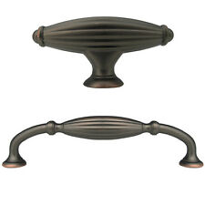 """Oil Rubbed Bronze Flute Kitchen Cabinet Drawer Knobs and Pulls  5"""""""