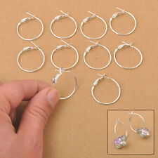 25-90MM 20Pcs Wholesale 925 Sterling Silver Plate Basketball Wives Hoop Earrings