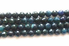 6,8,10,12,14,16mm dark blue Agate round  facted Beads 15""