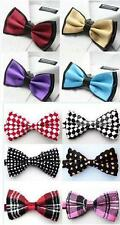 NEW Satin Novelty Bow Tie Dickie Bow Pre-Tied - Striped Checked Polka-Dot ETC UK