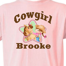 """Personalized PINK """"COWGIRL"""" T-SHIRT Youth or Infant GIRL & HORSE T-Shirt Equine"""