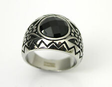 Men's Ring, Stainless Steel,  Black Onyx - Silver, size 9-10-11-12
