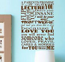 Parents Promise Vinyl Wall Decal Quotes Lettering
