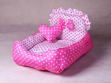 100% Cotton Handmade Pink Series High-Back Princess Dog Cat Pet House Bed