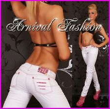 NEW SEXY WOMENS JEANS DESIGNER FASHION LADIES HIPSTER PINK WHITE DENIM HOT PANTS