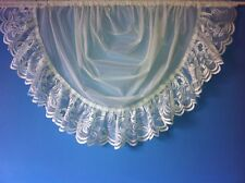 "WHITE VOILE NET CURTAIN SWAG,TRIMMED WITH 6"" LACE"