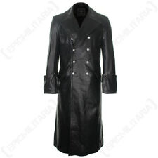 German Officer Full Length Black Leather Coat All Sizes WW2 Repro Cotton Lined