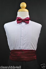 Infant Toddler Boy BURGUNDY CUMMERBUND CUMBERBAND + BOW TIE Tuxedo Suit Sz S-28