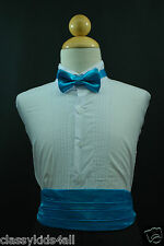 Toddler Teen Baby TURQUOISE CUMMERBUND CUMBERBAND + BOW TIE for Tuxedo Suit