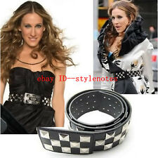 Sex and the City Sarah Jessica Parker Carrie Black Punk Fashion Studded Belt