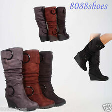 Women's Comfort Round Toe Slouchy Buckle Knee High Wedge Boots Shoes Size 5 -10