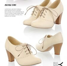 Lady's Oxford Round Toe Lace Up Mid Thick High Heels Spring Autumn Dress Shoes