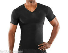 Under Armour Tactical Heatgear V Neck Compression Black T Shirt Subdued 1216010