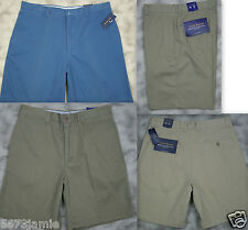 Club Room Men Flat Front Khaki Chino Golf Walking Shorts MSRP$40.00 sz 32,34,36