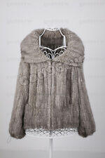 100% Real Genuine Knitted Mink Fur Zip Coat Outwear Jacket Waistcoat Autumn New!