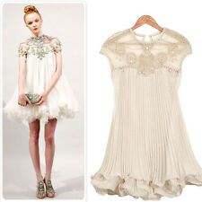 Tulle Lace Flouncing Hem bead Cocktail Dress embroidered party dress fully skirt