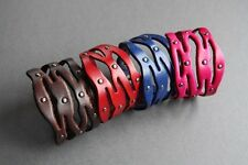 NEW Leather Wide Studded Surfer Bracelet Wristband Bangle Cuff Band Button