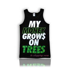 Brand New Men's Funny Tanktop  My Money Grows on  Black color  Fast USA Shipping