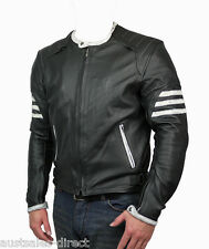 Mens Black Motorcycle Cowhide Leather Jacket Street Cafe Racer Naked Custom