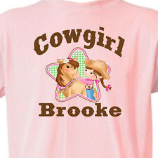 """Customized PINK """"COWGIRL"""" T-SHIRT Youth, Infant GIRL & HORSE T-Shirt Equine"""