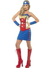 LADIES FEVER WONDER SUPER WOMEN HERO FANCY DRESS COSTUME GOLD RED BLUE OUTFIT