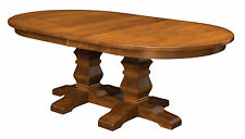 Large Amish Oval Double Pedestal Dining Room Table Solid Wood Extending New