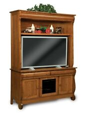 Amish TV Entertainment Center Solid Oak Wood Media LCD Hutch Cabinet Storage New