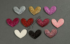 "U PICK~ 1-1/8"" (27mm) Glitter Heart Appliques Valentine's Cards Crafts #2412"