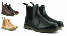 MENS NEW BLACK REAL LEATHER CHELSEA DEALER BOOTS AIR SOLE SHOES SIZE 7 8 9 10 11