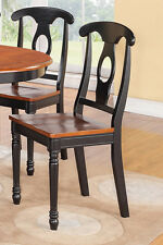 2 NAPOLEON DINING KITCHEN DINETTE WOOD OR LEATHER UPHOLSTER SEAT CHAIR IN BLACK