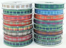 7mm Berisfords Tartan Ribbon - Choice of 16 Colours