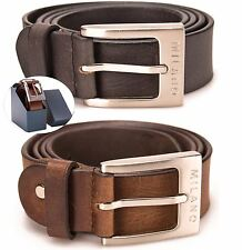 Milano Mens Full Leather New Black & Brown Belt Square Silver Buckle NWT Quality