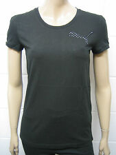 Womens Puma T-Shirt Top Black - Alphabet Print Size 6 - 16 Ladies A42