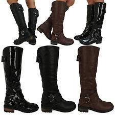 D7Y NEW WOMENS LADIES FASHION WINTER MID CALF UNDER KNEE BIKER BOOTS SHOES SIZE