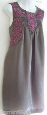 NEW~MONSOON~MANDY EMBROIDERED DRESS VARIOUS SIZES MINK SILK COTTON, PINK, LINED