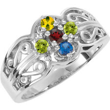 Sterling SILVER Mother's Birthstone Ring 1-7 Stones, Moms family Jewelry Ring