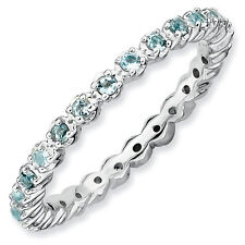 Sterling Silver Stackable Ring Aquamarine stones, Silver Birthstone Ring QSK352