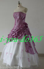 New Stock White/Lilac Evening Wedding Bridesmaids Dress Size 6 8 10 12 14 16
