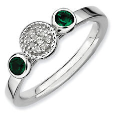 Sterling Silver Stackable Ring Created Emerald & Diamond accent stones, QSK524