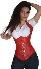 Sexy Red Faux Leather Gothic Buckle Halter Lace Up Back Underbust Corset 5144