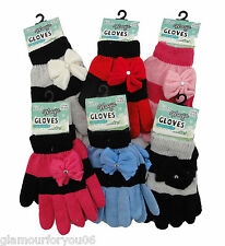 Girls MAGIC GLOVES Childrens Winter Stretchy DIAMANTE BOW Gloves Kids Gloves NEW