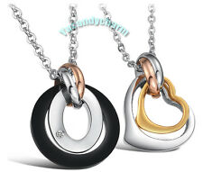 MADE IN KOREA Tri-Color Ring & Heart couple lover necklace SET Stainless Steel