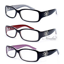 Women Fashion Clear Lens Glasses Rhinestone Design on Temple 6 Various Colors