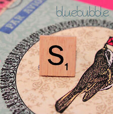 FUNKY WOODEN VINTAGE SCRABBLE STYLE SILVER RING CUTE KITSCH INITIAL LETTER BOHO