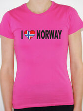 I LOVE NORWAY WITH NORWEGIAN FLAG IN A HEART SHAPE International Womens T-Shirt