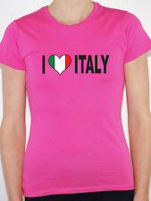 I LOVE ITALY WITH ITALIAN FLAG IN A HEART SHAPE - International Womens T-Shirt