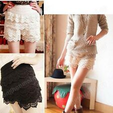 BE# New!Fashion Mini Lace Tiered Short Skirt Under Safety Pants Shorts 2 Colors