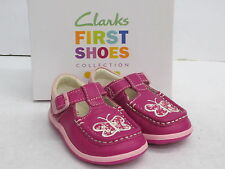 SALE CLARKS GIRLS SHOES 'ALANA STAR' HOT PINK LEATHER UPPER