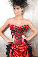 Bustier Rouge Corset Glamour Burlesque Pin Up jarretelles  5203-2   XXL 42/44