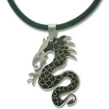 Black Silver Stainless Steel Good Luck Chinese Dragon Men Pendant Cord Necklace